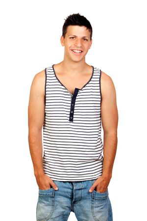 Young Casual Man with a striped shirt Isolated on White photo