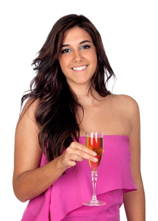 spanish looking: Beautiful girl with a glass of champagne isolated on a over white