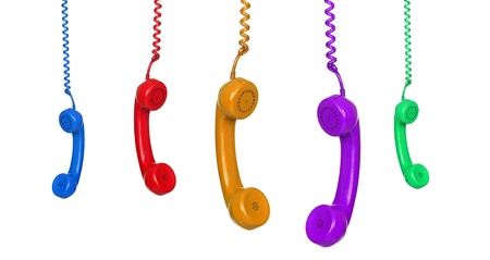 Five colored phones hanging isolated on white background photo