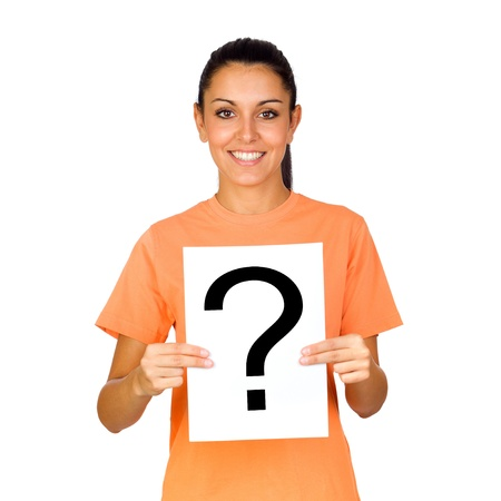 Girl Holding a Blank Paper with a Question Mark Isolated on White photo