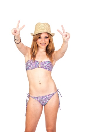 Young Casual Girl with Bikini making an Victory Sign with Hands Isolated on White Stock Photo - 16254043