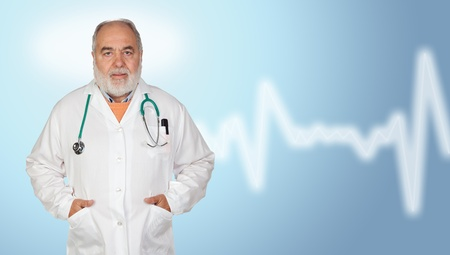 hoary: Senior doctor with hoary hair on blue and white background Stock Photo