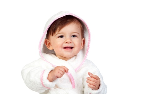 bathrobes: Beb� feliz con una bata de ba�o aislado en el fondo blanco