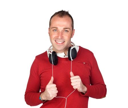sympathetic: Sympathetic man with headphone isolated on white background Stock Photo