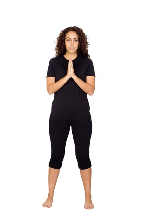 Brunette Woman Doing Yoga Exercises Isolated on White Stock Photo - 16764660