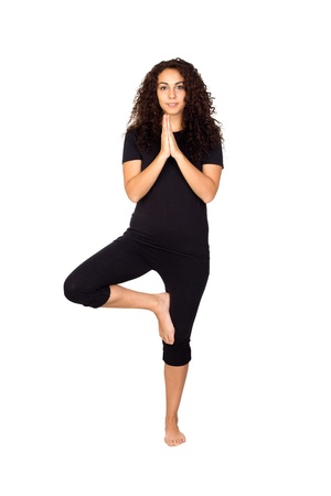 Brunette Woman Doing Yoga Exercises Isolated on White photo