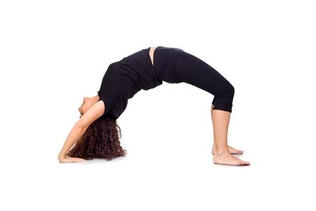 Brunette Woman Doing Yoga Exercises Isolated on White Stock Photo - 17193595