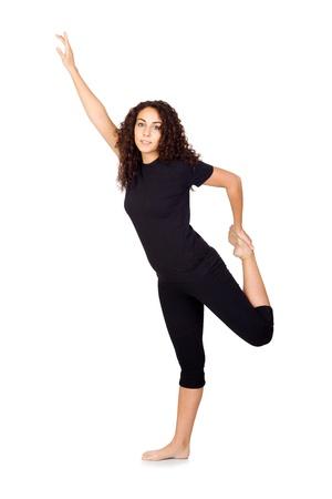 Brunette Woman Doing Yoga Exercises Isolated on White Stock Photo - 17193556
