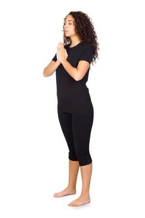 Brunette Woman Doing Yoga Exercises Isolated on White Stock Photo - 17240528