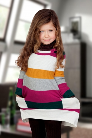 shy girl: Shy girl with colorful dress at home