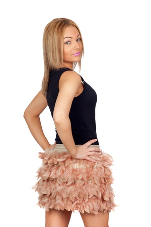 Attractive woman with a feather skirt isolated on white background photo