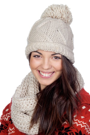 Attractive girl with with wool hat and scarf isolated on white background photo