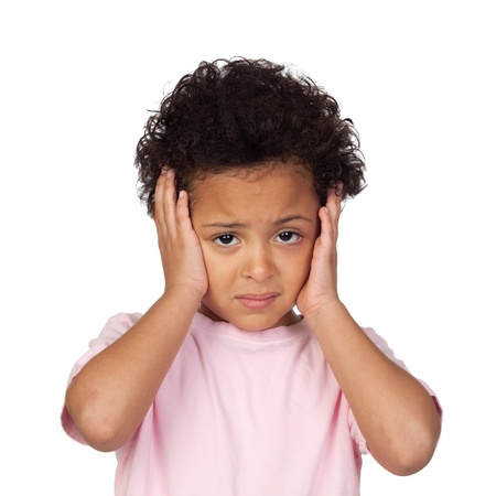 Sad latin child with headache isolated on white background Stock Photo