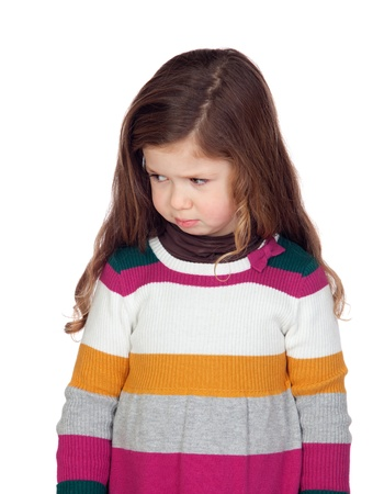 shy girl: Sad little girl with long hair over a white background Stock Photo