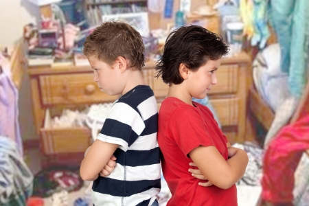 disordered: Two brothers angry in his disordered room