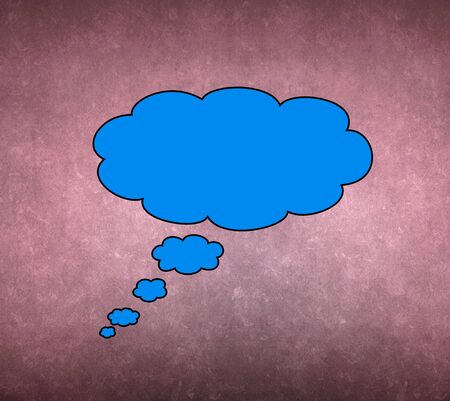 Blue thought bubble isolated on purple background photo