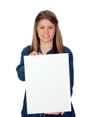 cartel: Beautiful young girl holding a blank poster for advertising isolated on white background Stock Photo