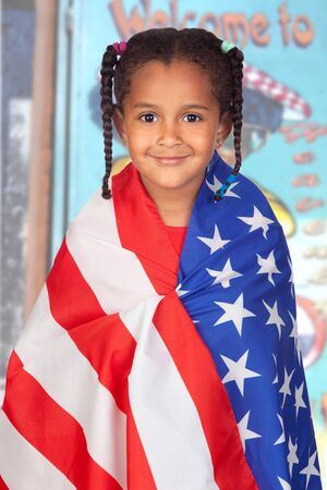 Afro-American girl with a American flag with a poster of background photo
