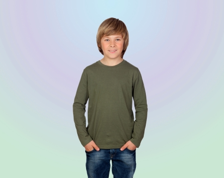 Portrait of adorable child isolated on a over blue background Stock Photo - 18293856