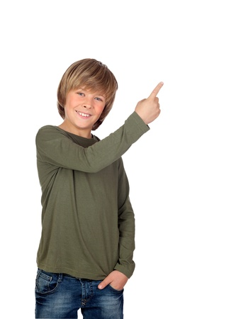 Adorable child pointing something isolated on a over white background Stock Photo - 18293855