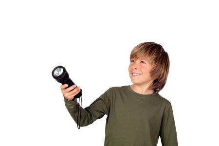 schoolkid search: Ni�o con una linterna buscando algo en el fondo blanco