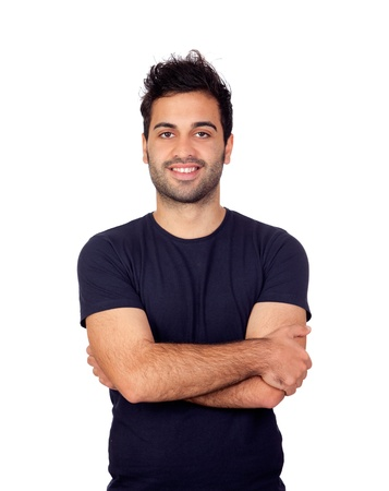 arabic man: Attractive young men in black isolated on white background