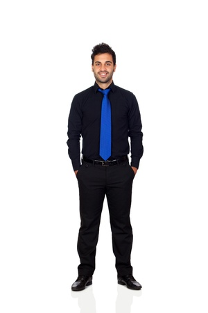 Young businessman with blue tie isolated on white background photo