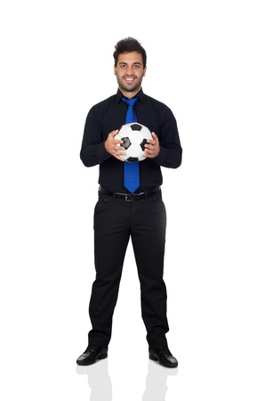 Stylish soccer player with a ball isolated on white background photo