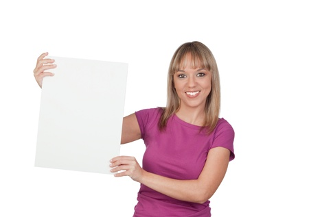 cartel: Beautiful girl holding a blank poster for advertising isolated on white background