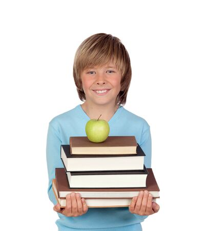 Preteen boy with a many books isolated on white background Stock Photo - 18522260