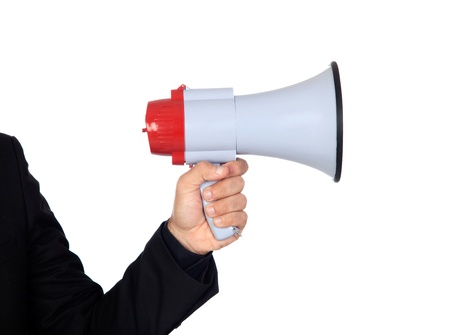 divulge: Someone with a Megaphone for proclaiming something isolated on white background