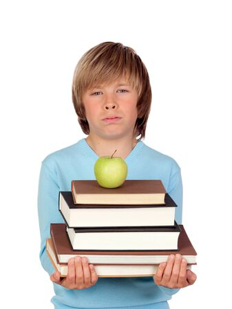 Preteen boy with a many books tired isolated on white background Stock Photo - 18522253