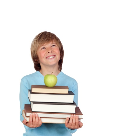 Preteen boy with a many books looking up isolated on white background Stock Photo - 18522252