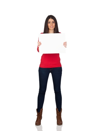 cartel: Attractive brunette girl with a blanc cartel isolated on a over white background Stock Photo