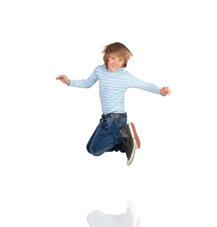preteen boys: Adorable child jumping isolated on a white background