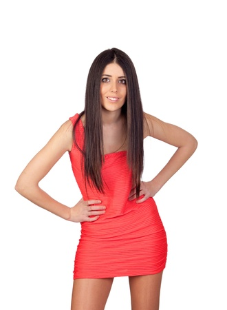 Brunette girl with a red dress isolated on white background
