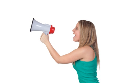Profile of a blond girl with a megaphone isolated on a over white background Stock Photo - 18788183