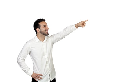 Attractive young men pointing something isolated on white background photo
