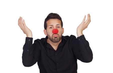 ignorant: Ignorant businessman with clown nose isolated on white background