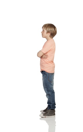 boy standing: Full profile of a angry adolescent with serious gesture isolated on white background