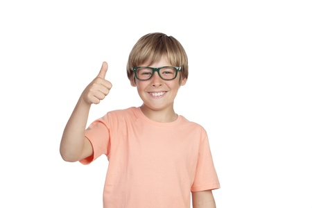сooking: Smiling boy with glasses saying Ok isolated on a white background