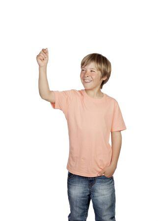 kids holding hands: Smiling boy raising his arm holding something isolated on white background