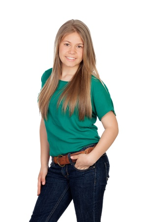 Beautiful young girl with green t-shirt isolated on white background photo