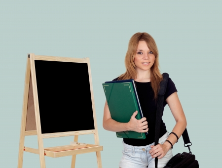 Attractive student girl isolated on a over white background photo