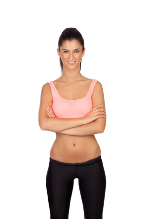 sportman: Attractive girl with sports clothes isolated on a white background