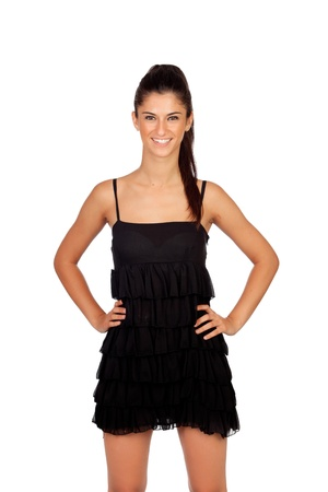 Attractive brunette girl with black dress isolated on a white background photo