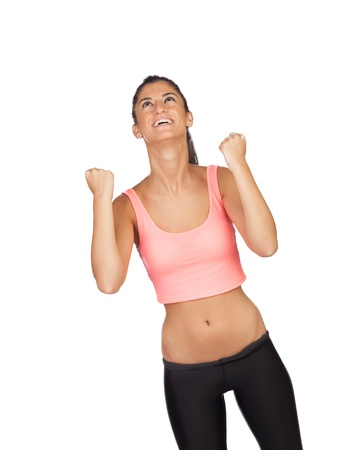 ttractive: Winner ttractive girl with sports clothes isolated on a white background Stock Photo