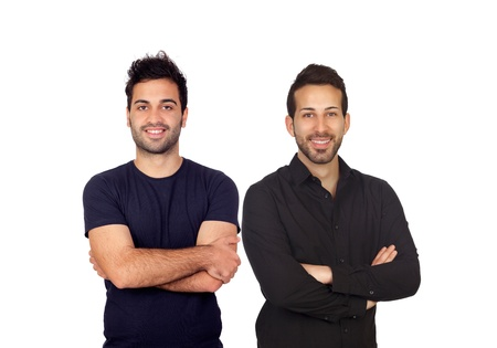 arabic boy: Two attractive boys in black isolated on white background