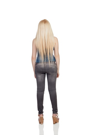 Girl back with long hair isolated on a over white background photo