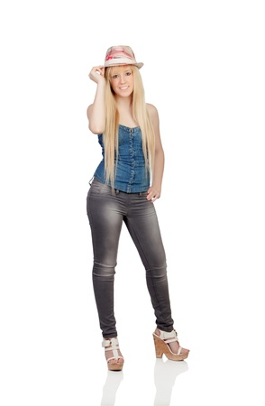 Young girl with blond hair and a cap isolated on a over white background photo